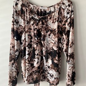 Mandee floral women's blouse, pink brown and black